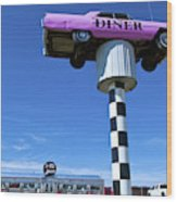 Lonely Diner With Pink Cadillac Wood Print