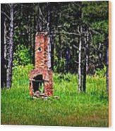 Lonely Fireplace Wood Print