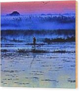 Lonely Fisher Wood Print