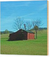 Lonely Hay Bale Wood Print