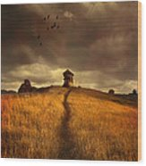 Lonely House On The Hill Wood Print