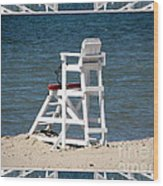 Lonely Lifeguard Station At The End Of Summer Wood Print