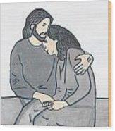 Lonely Meets God Wood Print