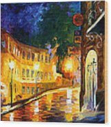 Lonely Night - Palette Knife Oil Painting On Canvas By Leonid Afremov Wood Print