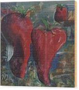 Lonely Peppers Wood Print
