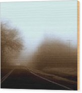 Lonely Road With Fog Wood Print