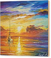 Lonely Sea 2 - Palette Knife Oil Painting On Canvas By Leonid Afremov Wood Print