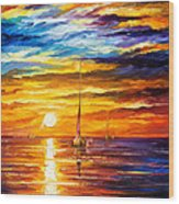 Lonely Sea 3 - Palette Knife Oil Painting On Canvas By Leonid Afremov Wood Print