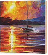 Lonely Yacht - Palette Knife Oil Painting On Canvas By Leonid Afremov Wood Print