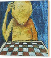 Lonesome Chess Player Wood Print