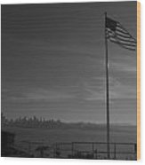 Lonesome Flag Wood Print