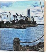 Long Beach Bay / Paintbrush Effect Wood Print