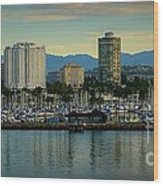 Long Beach Cityscape   Wood Print