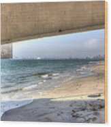 Long Beach From Beneath The Pier Wood Print