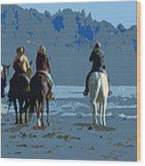 Long Beach Horses Study Wood Print