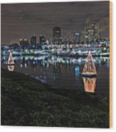 Long Beach Lights Wood Print