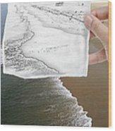 Long Beach Shoreline / Torn Sketch Effect Wood Print