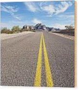 Long Desert Road Wood Print