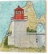 Long Eddy Pt Lighthouse Nb Canada Chart Art Peek Wood Print
