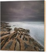 Long Exposure Sunset On A Dark Stormy Wood Print