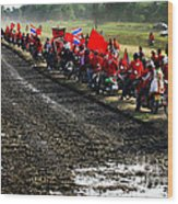 Long Journey Of The Red Rally Wood Print