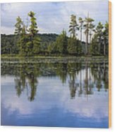 Long Lake Reflection Wood Print