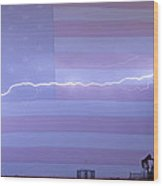 Long Lightning Bolt Across American Oil Well Country Sky Wood Print by James BO  Insogna