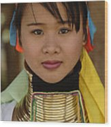 Long Necked Woman Of Thailand Wood Print
