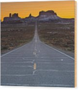 Long Road To Monument Valley Wood Print