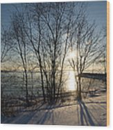 Long Shadows In The Snow Wood Print