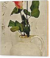 Long Stemmed Red Roses In Pottery Wood Print