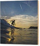 Longboarding Into The Sunset Wood Print