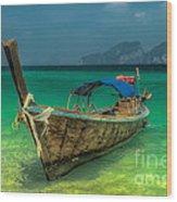 Longboat Wood Print by Adrian Evans