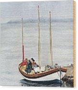 Longboat Wood Print by Sandy Linden