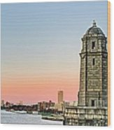 Longfellow Bridge Tower Wood Print by JC Findley