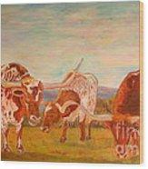 Longhorns On The Plateau Wood Print