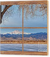 Longs Peak Across The Lake Barn Wood Picture Window Frame View Wood Print