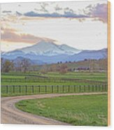 Longs Peak Springtime Sunset View  Wood Print
