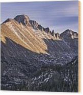 Longs Peak Sunset Wood Print by Aaron Spong