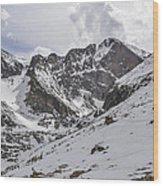 Longs Peak Winter Wood Print by Aaron Spong