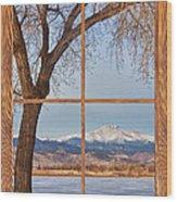 Longs Peak Winter Lake Barn Wood Picture Window View Wood Print