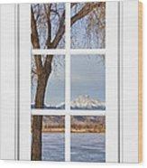 Longs Peak Winter View Through A White Window Frame Wood Print
