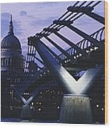 Looking Along The Millennium Bridge Wood Print