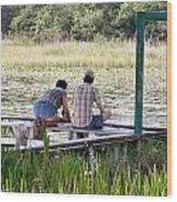 Looking At The Marsh Wood Print