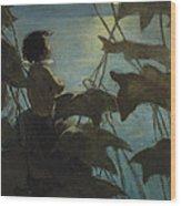 Looking At The Moon Circa 1916 Wood Print