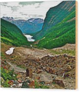 Looking Back To Lake Louise From Trail To Plain Of Six Glaciers In Banff Np-ab  Wood Print