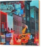 Looking Down Broadway In Nashville Tennessee Wood Print