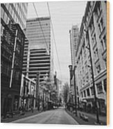 looking down granville street shopping area between the bay and pacific centre Vancouver BC Canada Wood Print by Joe Fox