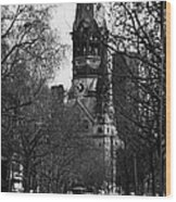 looking down Kurfurstendamm towards Kaiser Wilhelm Gedachtniskirche memorial church Berlin Germany Wood Print by Joe Fox