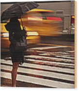 Looking For A Taxi - Rush Hour New York Wood Print